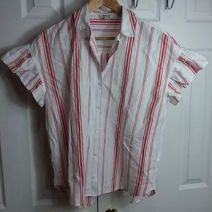 Madewell Striped Buttoned Flutter Sleeve Shirt